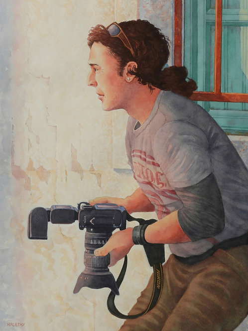 The Photographer, Becky Haletky, Watercolor - wc on paper, 28 x 20