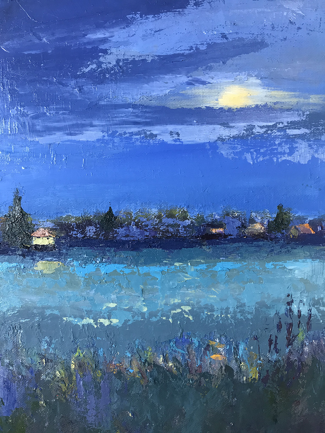 """""""Moonlight Over Wesquage Pond"""", Oil, 14""""x11"""""""