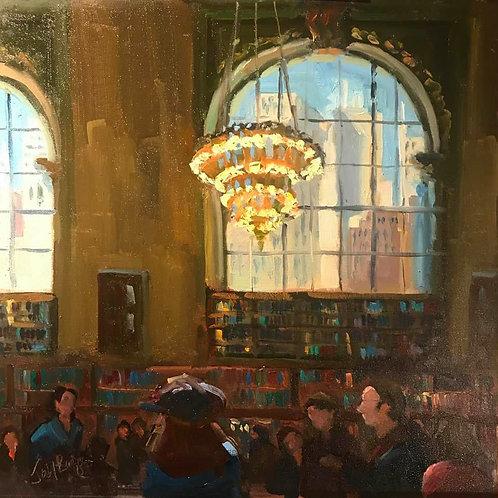 Reading Room , Jody Regan, Oil - oil on board, 16 x 16