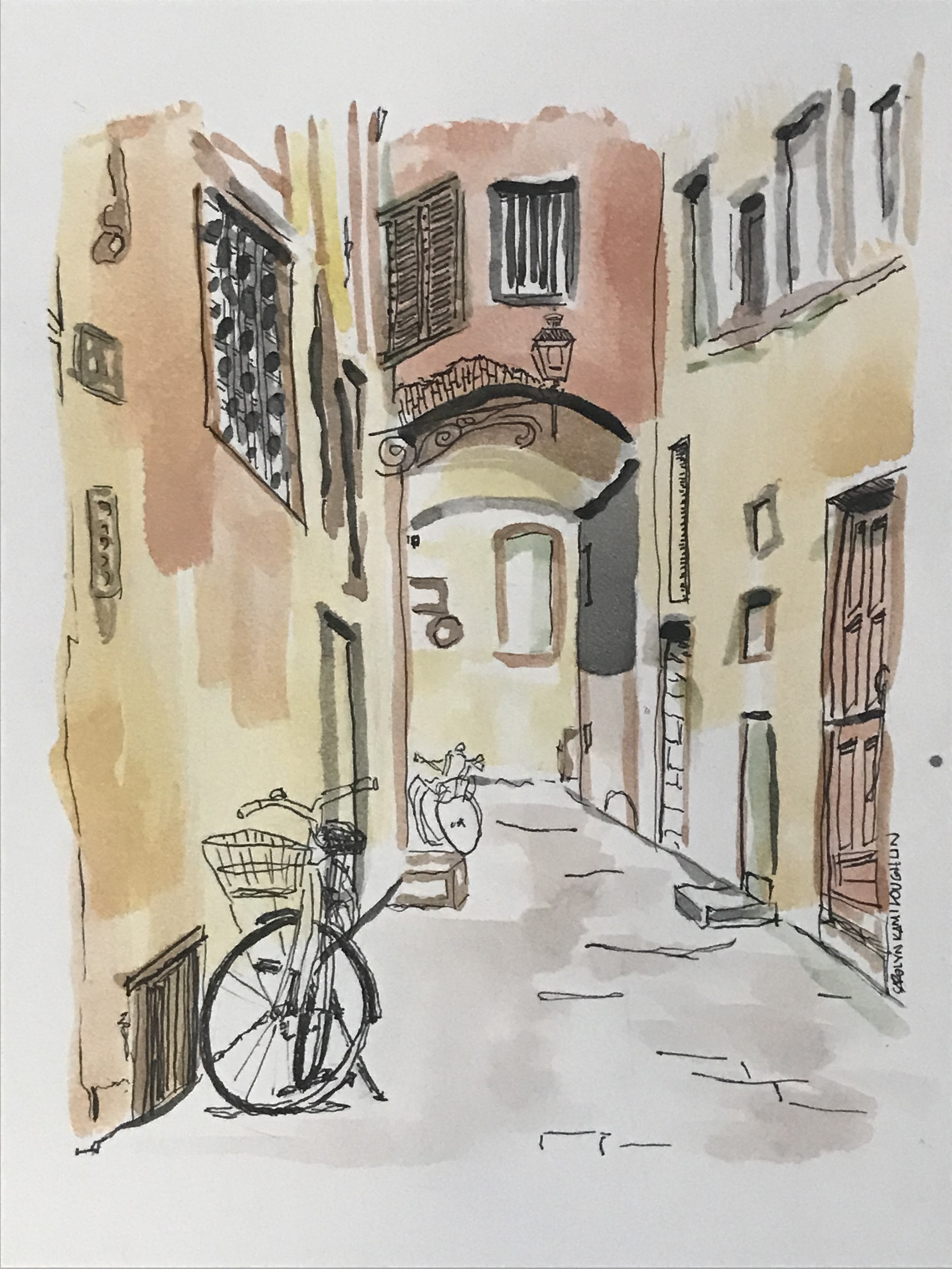 """Stradina"", Watercolor, 7""x5"""