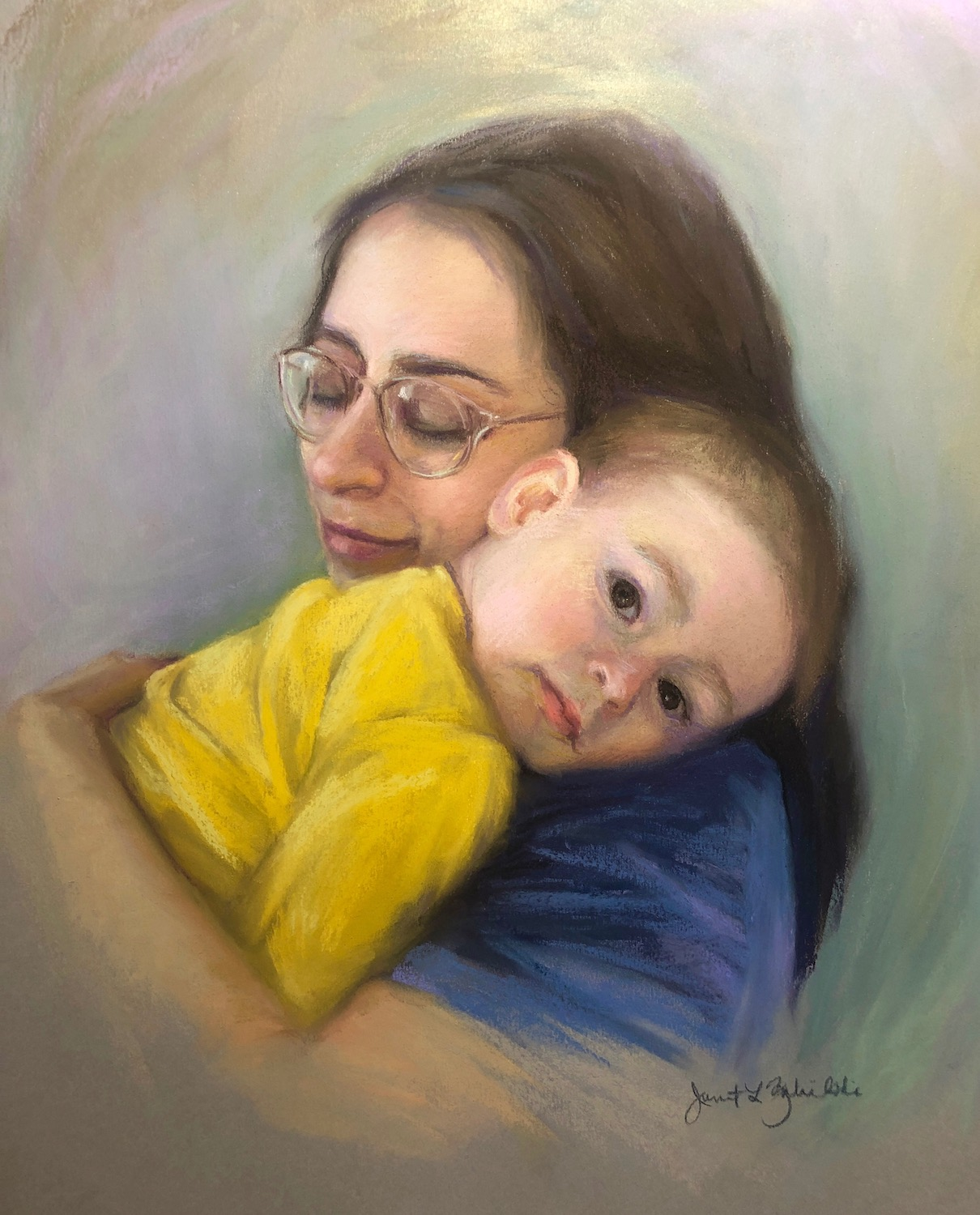 """""""Mother and Child"""", Pastel, 24""""x16"""""""