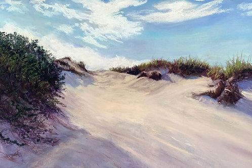 Shades of Purple Dunes, Mary Rest, Pastel - pastel on uart alcohol wash, 9 x 18