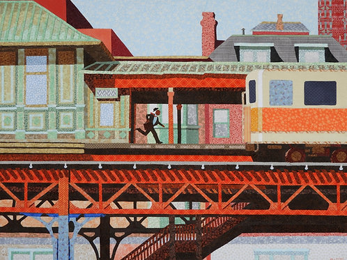 The Orange Line, Becky Haletky, Mixed Media - fabric collage, 28 x 36
