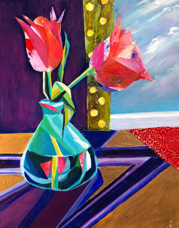 """""""Happy Vase"""", Mixed Media, 20""""x16"""""""