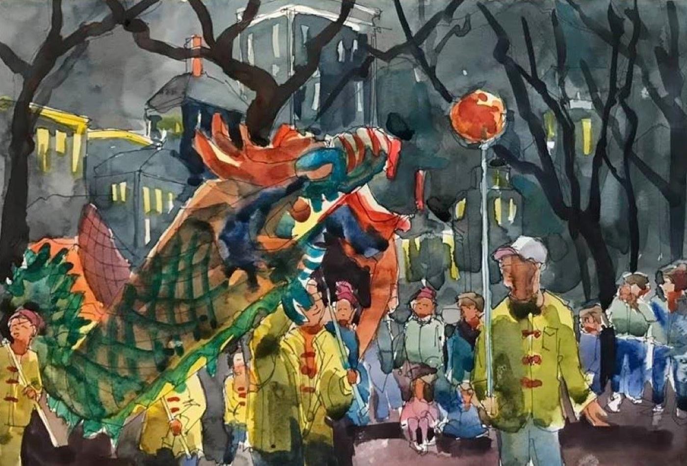 """""""Dragon Parade"""", Watercolor, 9""""x12"""""""