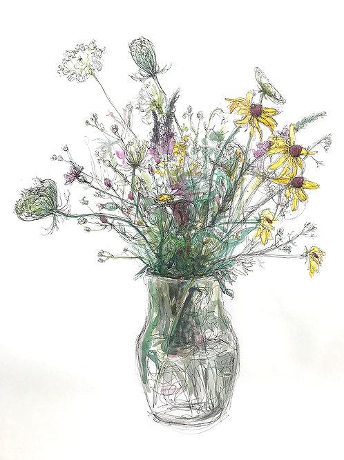 Spring Wild Flowers, Megan Chiango, Mixed Media, 24 x 18