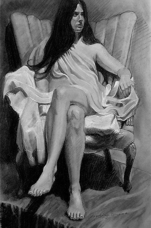Victoria, Daniel Myers, Charcoal - charcoal pencil white chalk, 24 x 18