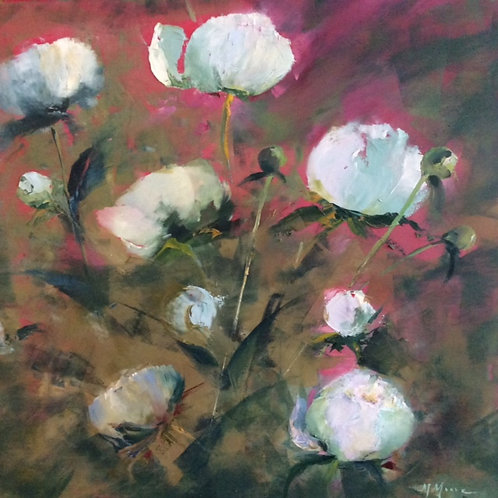 Peonies I, Marguerite Moore, Oil - Oil on Canvas, 16 x 16