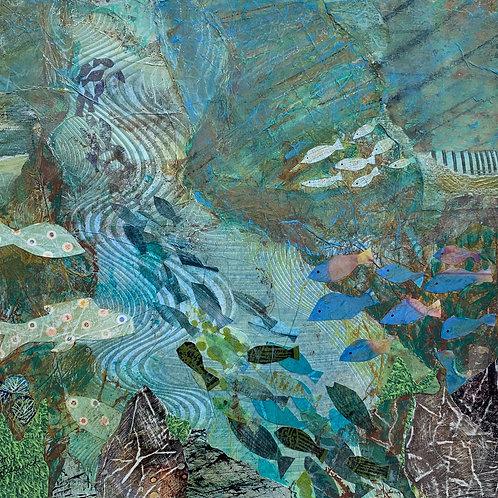 Fish Gotta Swim, Mary Jo Beswick, Mixed Media -  mixed media collage,  13 x 13