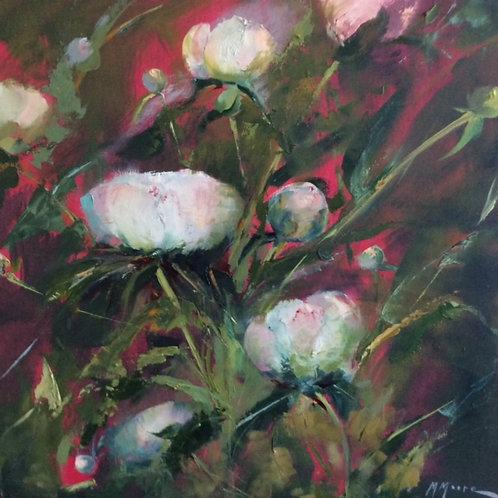 Peonies II, Marguerite Moore, Oil - Oil on Canvas, 16 x 16