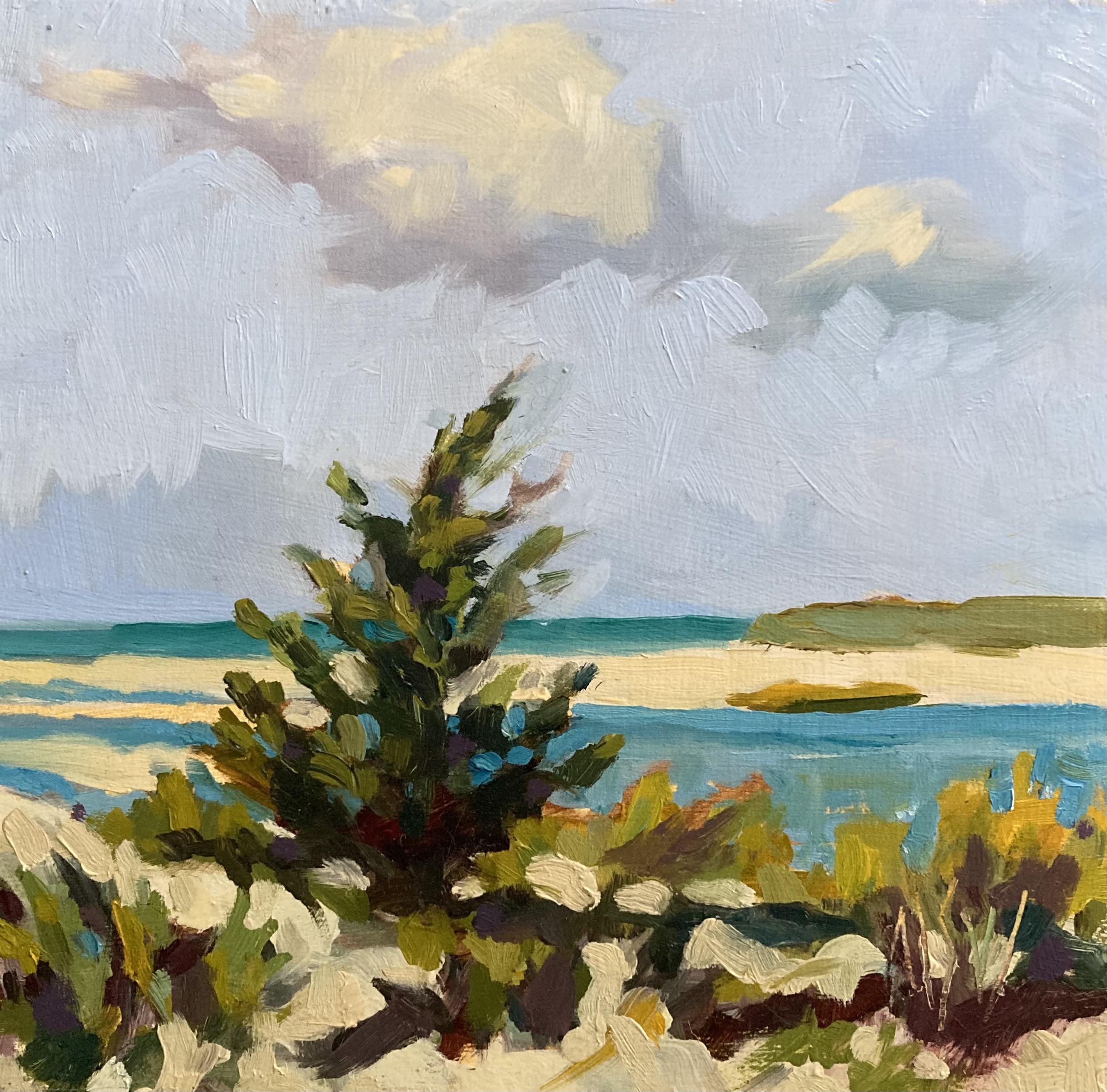 """Grays Beach"", Oil on Panel, 6""x6"""