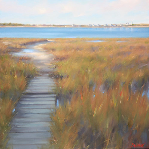 Path Toward Sandy Neck, Joreen Benbenek , Oil - oil seascape, 24 x 24