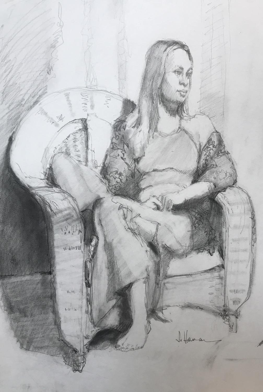 """Rattan Chair"", Graphite, 16""x11"""
