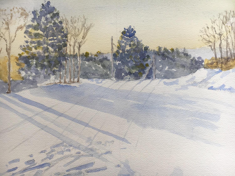 """First Run Berkshire East"", Watercolor, 12""x16"""