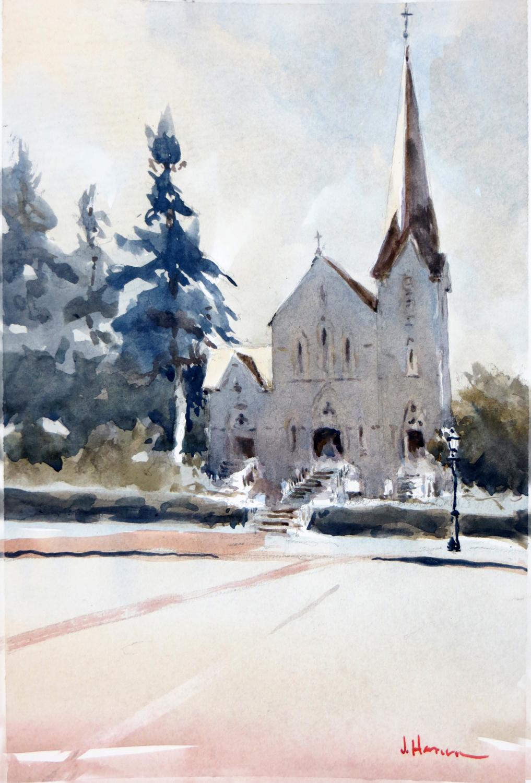 """St. Paul's Hingham:, Watercolor, 15""x11"""