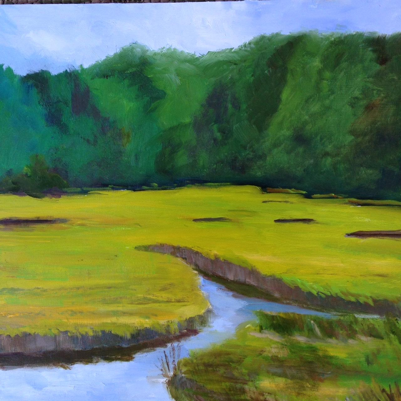 """Yellow Green Marsh"", Oil, 12""x12"""