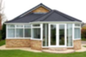 p-shaped-conservatory with a solid roof