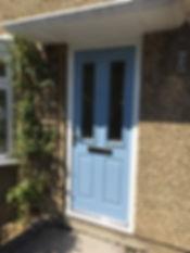 Blue composite front entrance door
