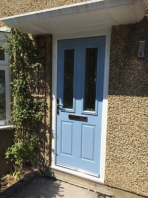 Blue composite front entrance door