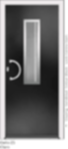 Black Aluminium Entrance Door in Delio-Z3-Claro Style with Sandblast Glazing and Centre Slam Lock