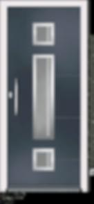 Anthracite Grey Aluminium Entrance Door in Como-ZY-Claro Style with Sandblast Glazing and Centre Slam LOck
