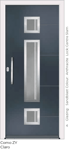 Anthracite Grey Aluminium Entrance Door in Como-ZY-Claro Style with Sandblast Glazing and Centre Slam LOck