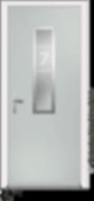 Pebble Coloured Aluminium Entrance Door in Delio-Z3-Fora Style with Sandblast Glazing