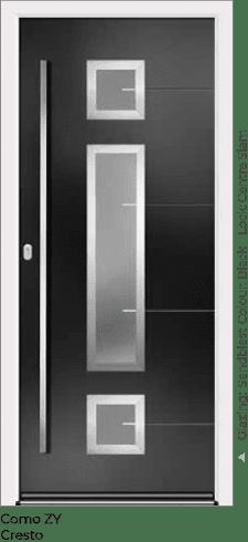 Black Aluminium Entrance Door in Como-ZY-Cresto Style with Sandblast Glazing and Centre Slam Lock