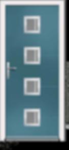 Midnight Coloured Aluminium Entrance Door in Como-VX-Claro Style with Sandblast Glazing