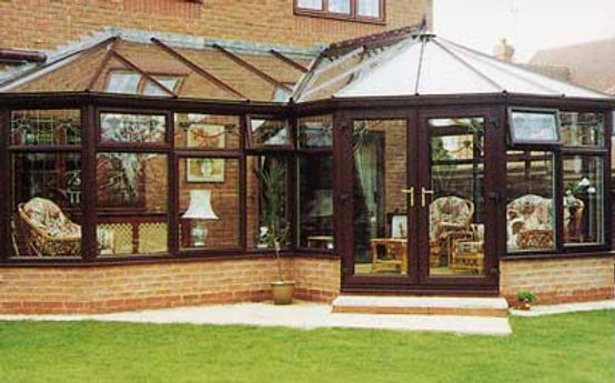P Shape Brown uPVC Conservatory