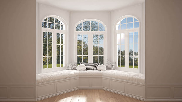 upvc (plastic) bay window with astragal bars and arched top window in white colour