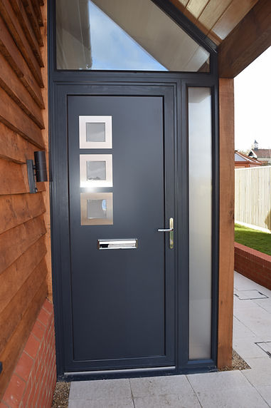 Anthracite Grey aluminium front entrance door with one side glass panel in Harwell