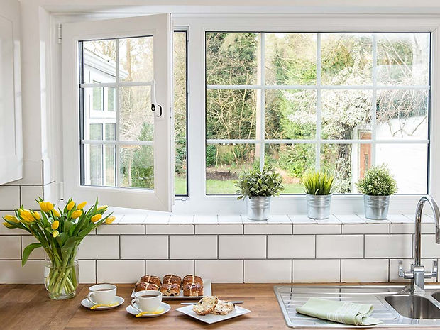 uPVC (plastic)  Tilt and Turn Window in White Colour with Astragal Bars
