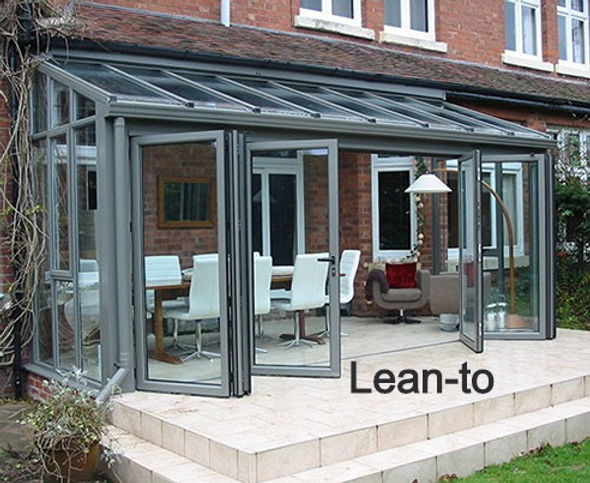 Full Height Lean-to Aluminium Conservatory in Grey Colour