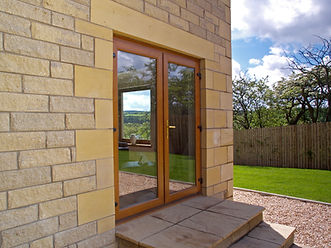 oak colour two part uPVC double doors