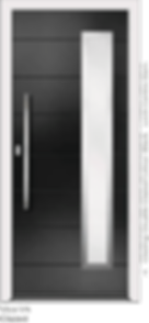 Black Aluminium Entrance Door of Vico-V4-Glazed style with double glazing and centre slam lock
