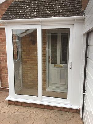 two part white uPVC sliding patio doors