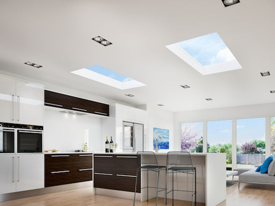 flat skylight in the kitchen ceiling