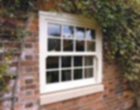 Wooden Vertical Sliding Sash Window in cream colour