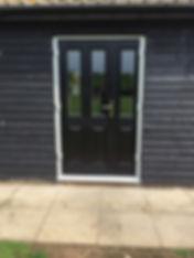 Black composite door and side panel