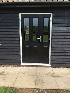 Black composite door and side panel