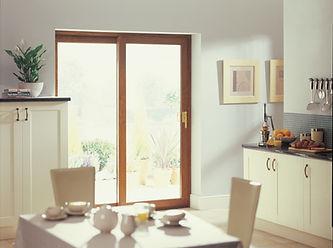 Oak colour uPVC two part sliding patio door in the kitchen