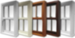 Verticle Sliding Sash Windows in  white, cream, oak, rosewood and light grey colours