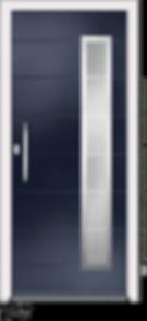Blue Aluminium entrance door in Vico-V4-Bianco style with sandblast glazing and centre slam lock