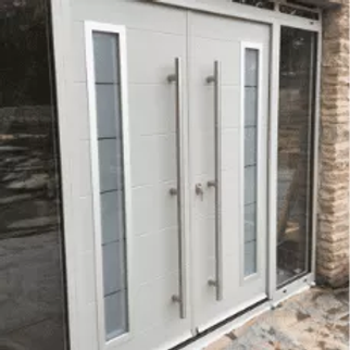 Light Grey Aluminium Virtuoso Front Entrance Door with two side glass panels