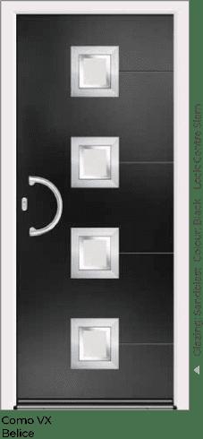 Black Aluminium Entrance Door in Como-VX-Belice Style with Sandblast Glazing and Centre Slam Lock