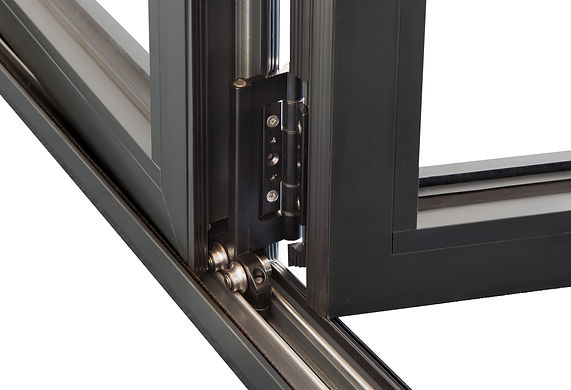 Bottom Rolling Track attached to a door hinge from Customade