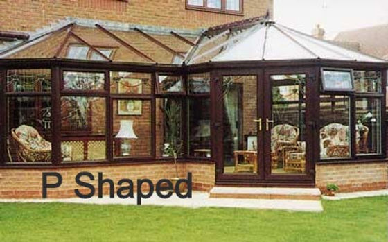 P-Shape uPVC Conservatory in Dark Brown Colour