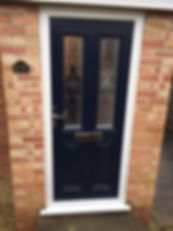 Dark blue Composite front entrance door with two decorative glass panels