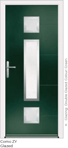 Green Aluminium Entrance Door in Como-ZY-Glazed Style with Double Glazing